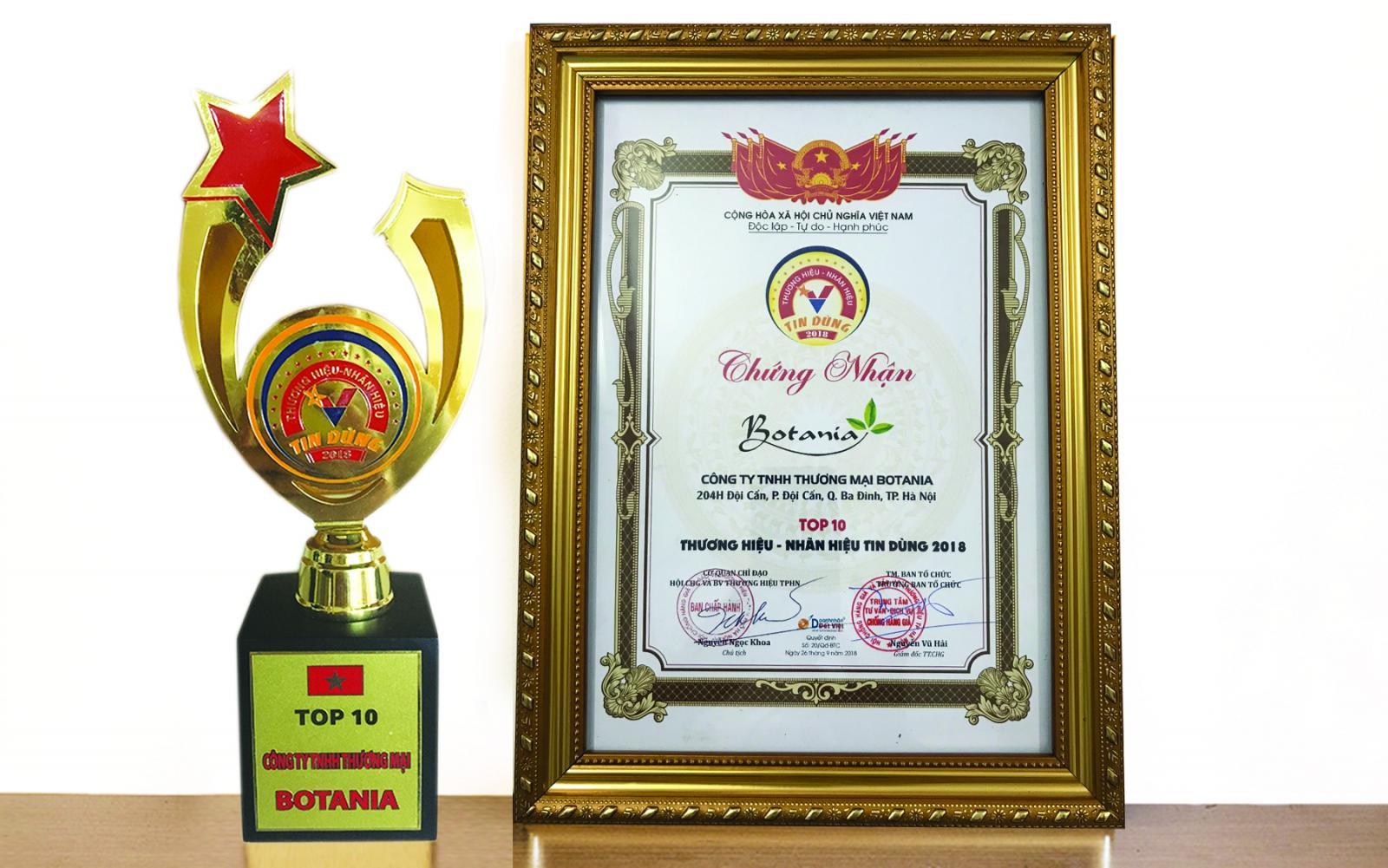 Công ty Botania vinh dự được nhận giải thưởng TOP 10 - Thương hiệu, nhãn hiệu tin dùng