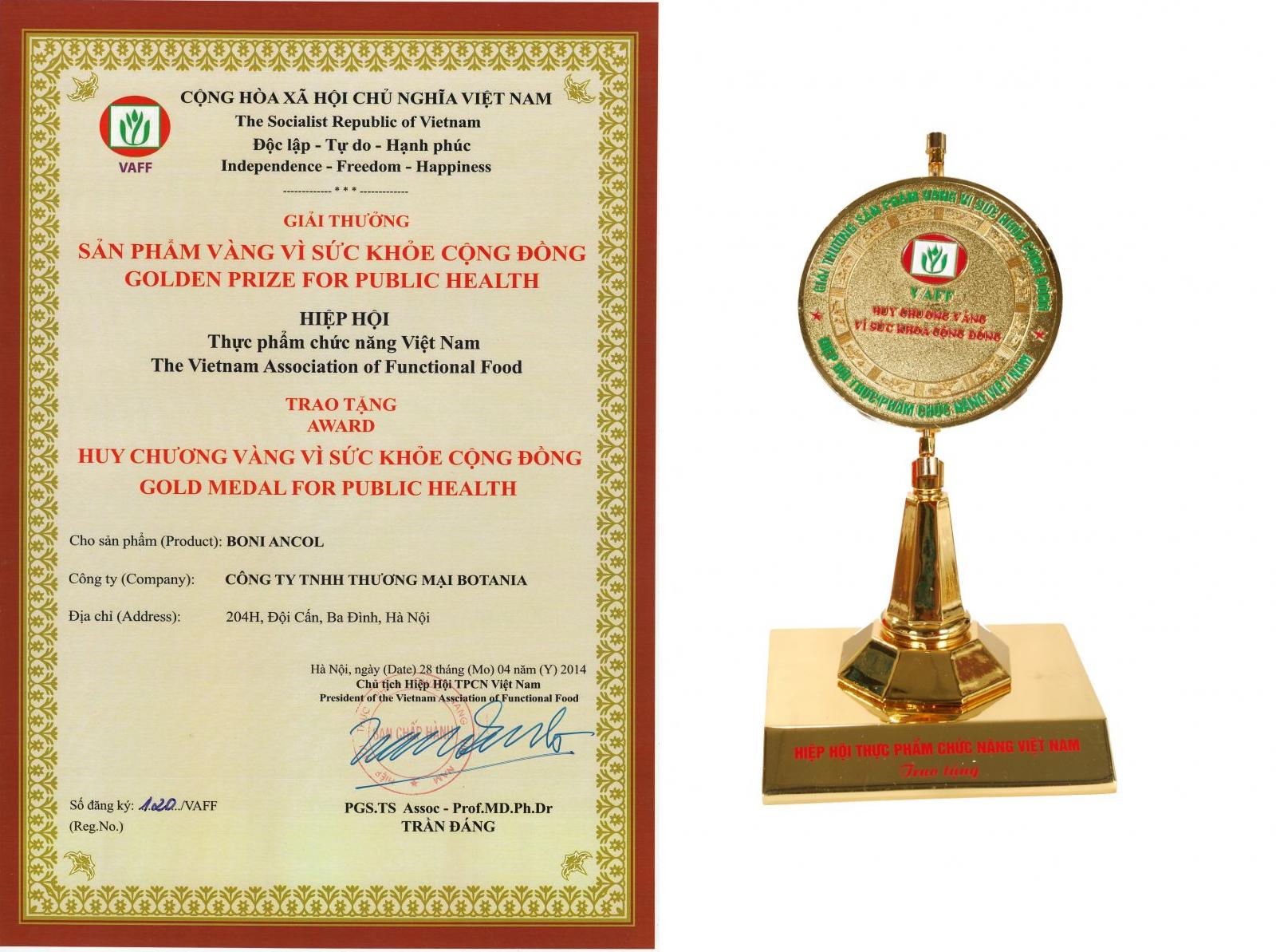 BoniAncol vinh dự nhận giải thưởng vàng vì sức khỏe cộng đồng
